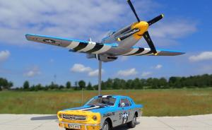 "P-51D Mustang ""Louisiana Kid"" mit Ford Mustang 1964 Coupe"