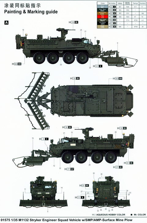 M1132 Stryker ESV w/SMP/AMP-Surface Mine Plow, Trumpeter Nr. 01575 ...
