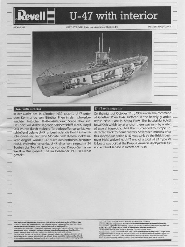 U47 Günther Prien /& Interieur Revell 05060 U-BootTyp VII B Bausatz 1:125