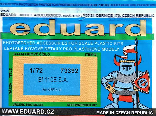 for Airfix in 1:72 Eduard Accessories 73392 Bf 110E S.A